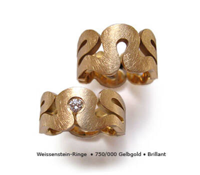Beispiel: Gelbgoldehering mit Diamant, Foto: Panzerknacker Goldschmiede.