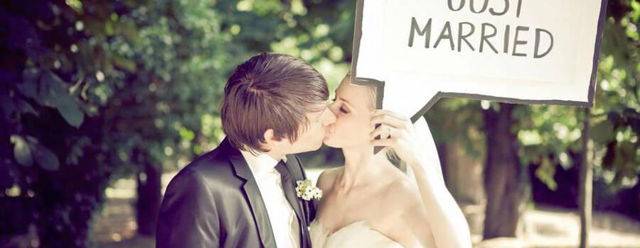 Beispiel: Just married, Foto: Die Hochzeitshummel.