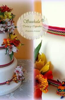 Torta Andina Peruana, flores Astromelias Naturales Cake Ingles al whisky relleno de Jalea de albaricoque