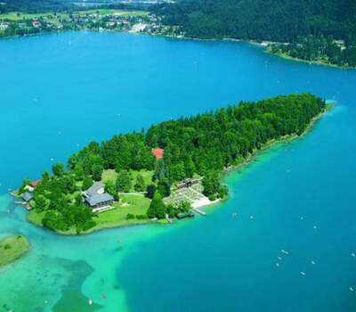 Beispiel: Luftbildaufnahme, Foto: Inselhotel Faakersee.