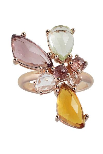 Anillo de plata chapado en oro rosa con piedras de cristal de roca natural.