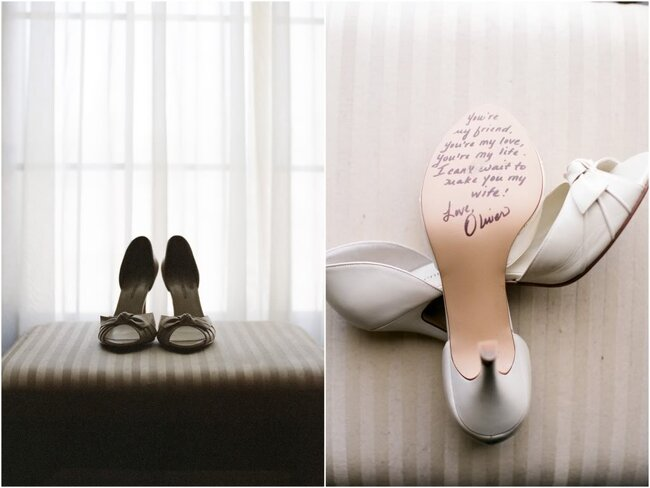 Mensagens embaixo do sapato da noiva. Foto: Alea Lovely