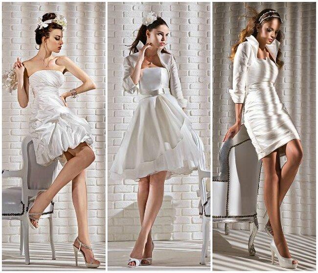 Vestidos de novia cortos en color blanco con detalles en la falda