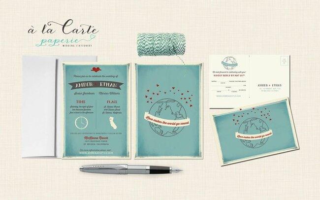 Faire-part de mariage bleu - Photo: A la carte Studio