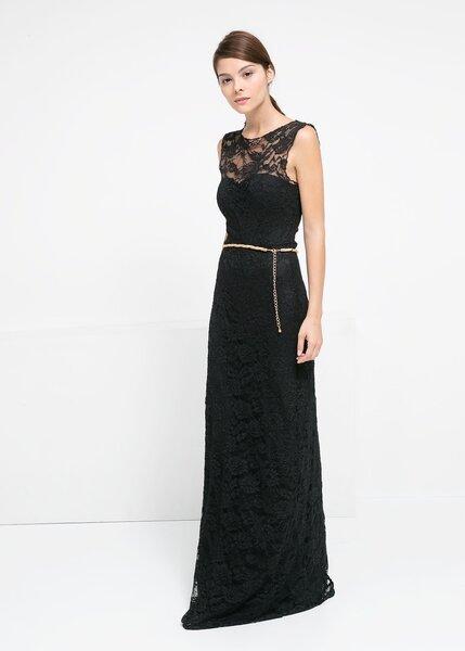Vestido largo negro con encaje en pecho