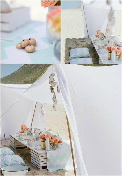 Prueba con un pequeño asentamiento DIY de telas, dará un ambiente muy bohemio a la boda.