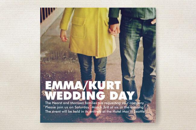 Invitaciones de boda con una foto romántica de fondo - Foto Minted
