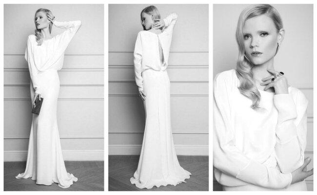 Suknia ślubna z długim rękawem z kolekcji Macieja Zienia na rok 2012