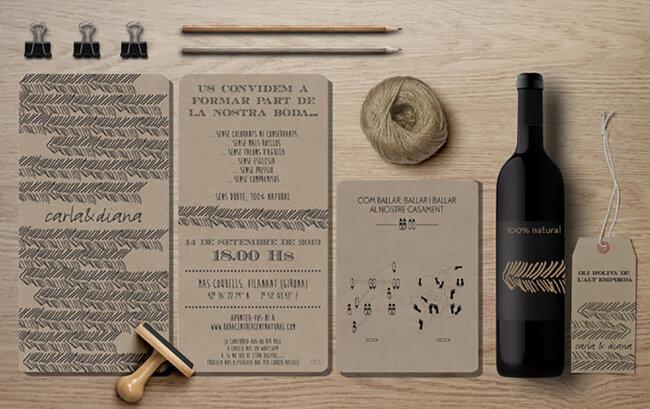 Originales y elegantes invitaciones a conjunto con el resto de la papelería de boda.