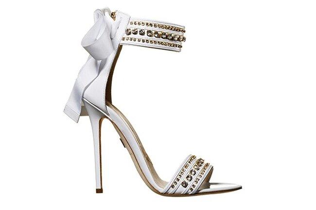 Sandalias con tacón incrustado con cristales para novias