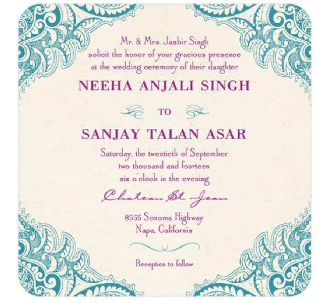 Invitación de boda vintage con colores azul y morado intenso