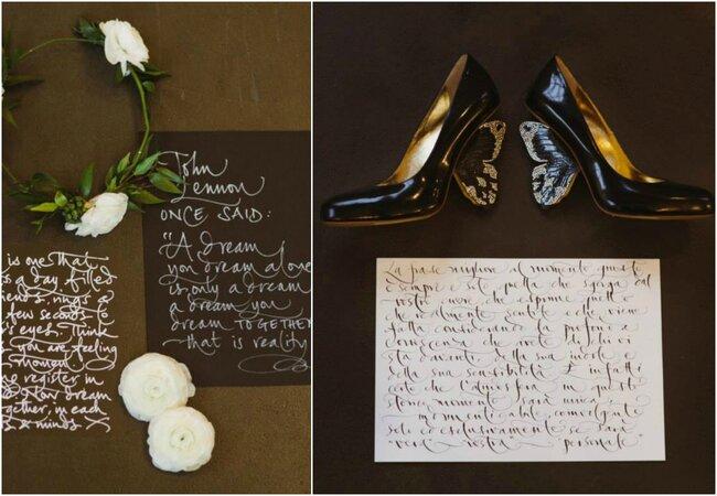 Caligrafía urbana y fantasía dispuesta con los accesorios de la boda.