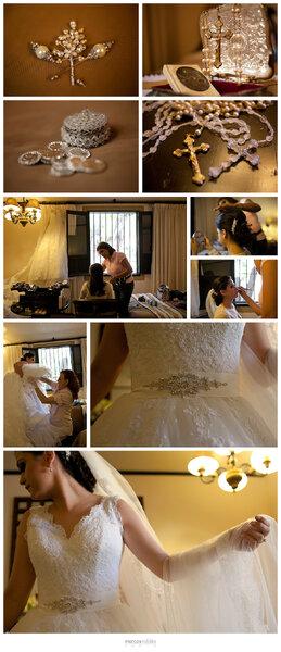 Fotos de los accesorios, el vestido y la sesión getting ready de Mariana