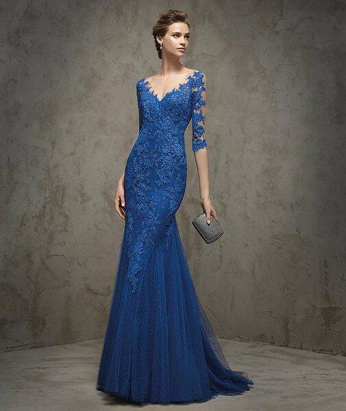 Vestidos de fiesta azules largos 2017