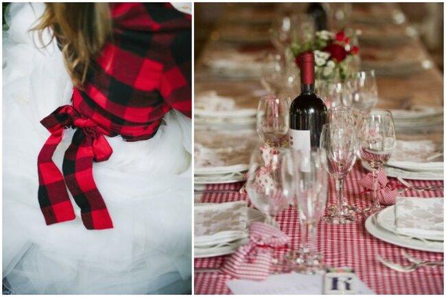 Decoración de cuadros para el atuendo de la novia y la mesa.