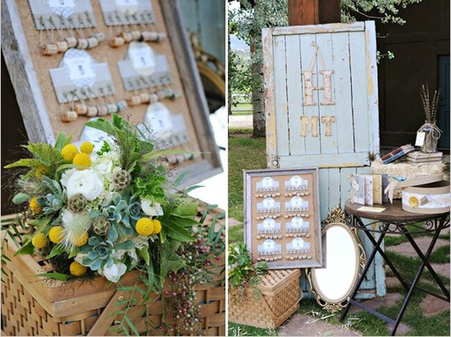 Hochzeits-Dekoration: Rustikale Tafel mit Korken, Foto: Amy Cloud McFarland