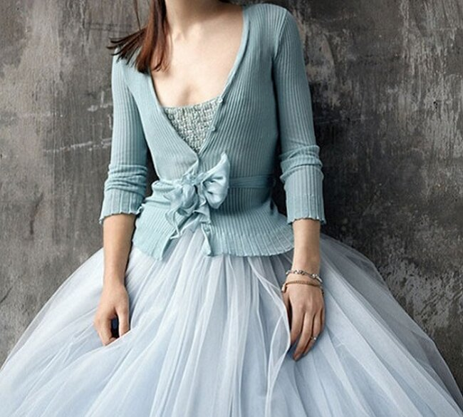 Um vestido de noiva azul