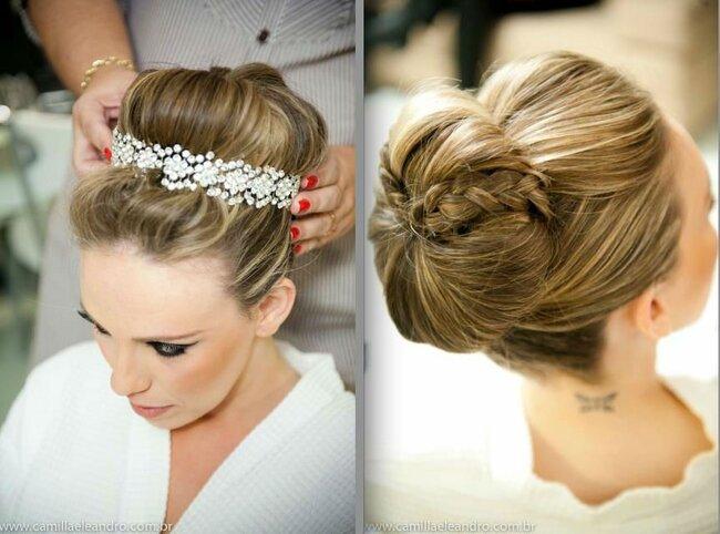 penteados para noivas com tranças e adereços