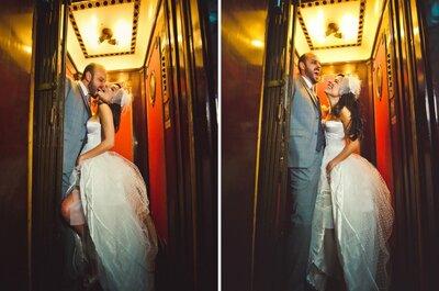 Balões de coração no casamento e uma noiva de corpete: Bruna e Rodrigo