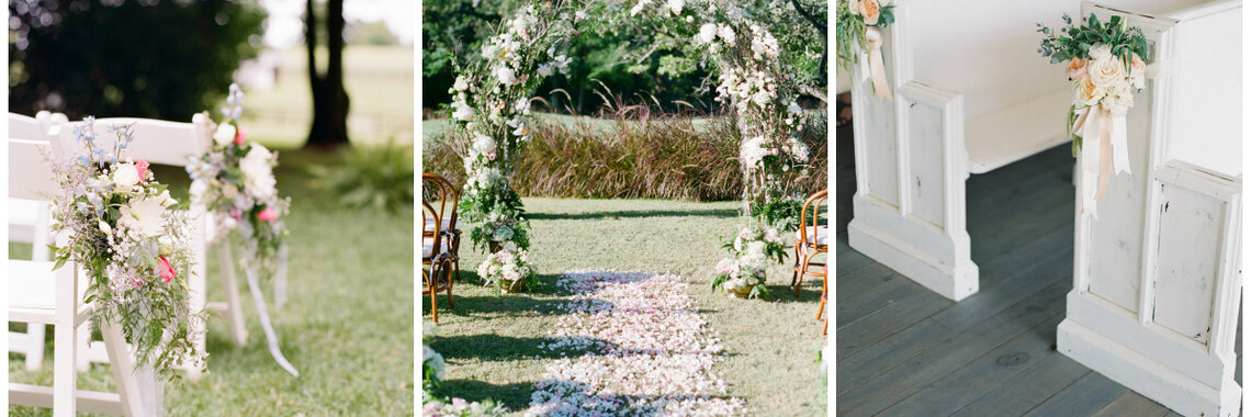 8 maneras creativas de decorar el pasillo de la ceremonia de boda