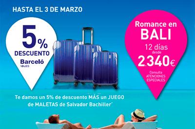 7 Viajes de novios en 2014: llévate un 5% de descuento y un juego de Salvador Bachiller con Barceló Viajes