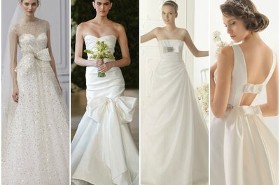 Románticos vestidos de novia 2013 con detalles de lazo
