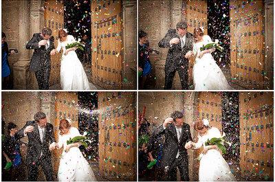 Arroz, pétalos y papelitos para los recién casados