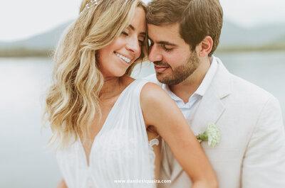 Casamento casual chic em Guarujá de Patrícia e Márcio: maravilhoso!