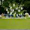 Decoración para mesa de postres en color verde con platillos y decoraciones en color blanco y detalles en mimbre