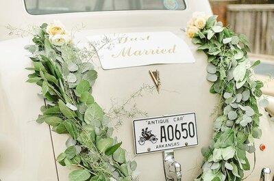 Decoración para tu carro el día de tu boda.