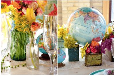 Mapas e increíbles destinos: Una decoración de boda inspirada en la magia de los viajes y las aventuras