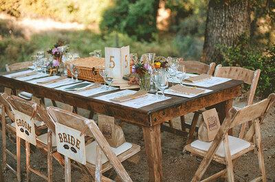 Decoración rústica chic para las mesas de tu casamiento