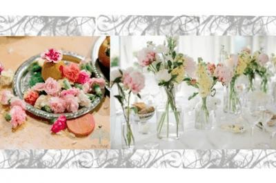 Ramos de novia y centros de mesa en color rosa pastel