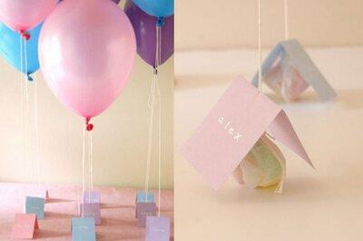 Escort card con i palloncini: un'idea d'effetto per le tue nozze