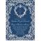 Invitación de boda vintage en formato vertical con fondo en color azul marino y decoraciones en tonos nude