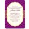 Invitación de boda vintage en color morado intenso y amarillo