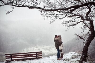 Eine standesamtliche Hochzeit im Schnee mit ganz viel gemütlichem Hüttenflair!
