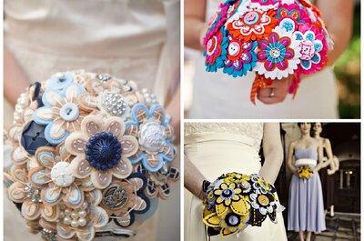 Bukiety ślubne z filcu - kolorowa alternatywa dla kwiatów