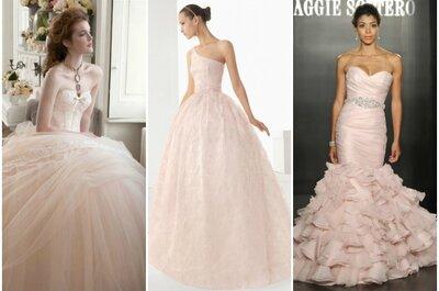 Per te che sei romantica, punta su un abito da sposa rosa!