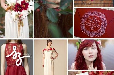 Una boda cargada de fuerza y misterio en rojo intenso