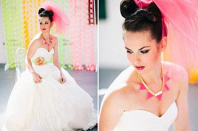 Colores neón para tus accesorios y maquillaje de novias
