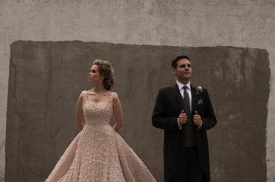 Peonias y un vestido color de rosa: La boda de cuento de Estefi y José Antonio
