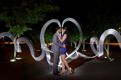 Fotografías de boda con estelas de luz