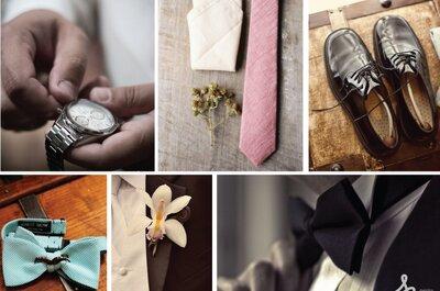 Collage de inspiración para el outfit del novio