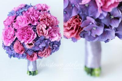 Kolor fioletowy w bukiecie ślubnym