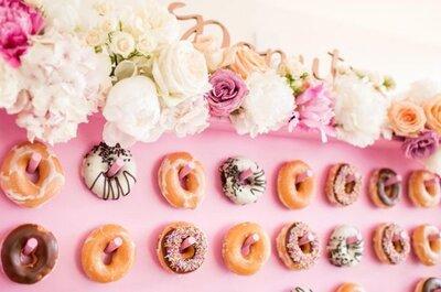 Muros de donuts para casamento: A tendência mais cool e deliciosa