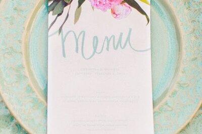 5 estilos de menús impresos que querrás tener en tu boda
