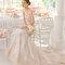 Hochzeits-Kleid: Brautkleid mit Jacquard-Stoff in rosé