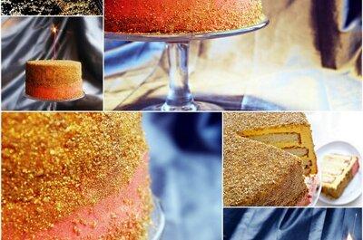 'Glitter wedding': Un pastel de boda hecho de oro