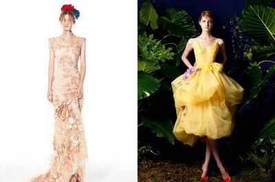 Vestidos para invitadas 2014: diseños florales y mucho color